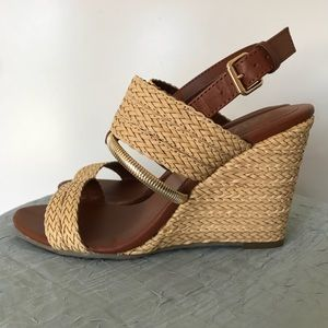 MIA Adria Natural Woven Wedge Sandals Size US 7.5